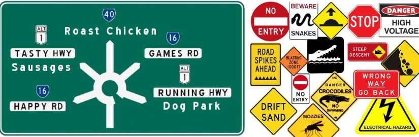 Road signs showing roads to food and fun versus signs depicting danger or wrong way